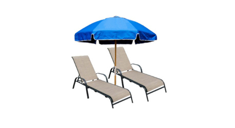 Image For Service 2 Chaise Lounges With Umbrella Daily 930am 430pm